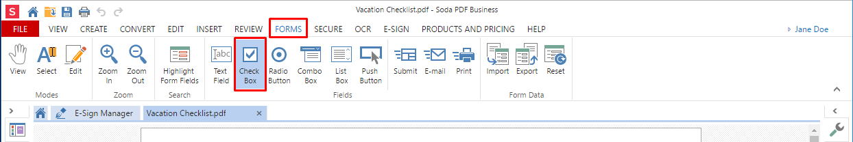 step 4 add a checkbox next to each item by going to the forms tab and selecting check box