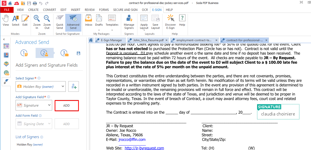 how to create an electronic signature in word 2011
