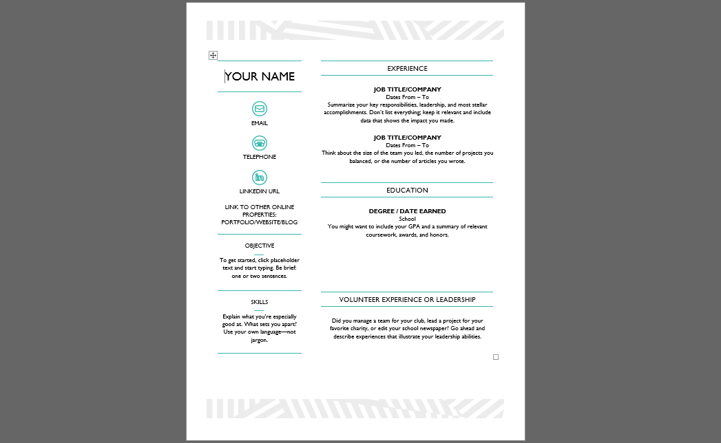 ms office contemporary resume template
