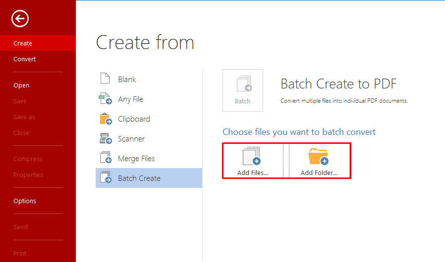 2 choose files too batch create pdf files