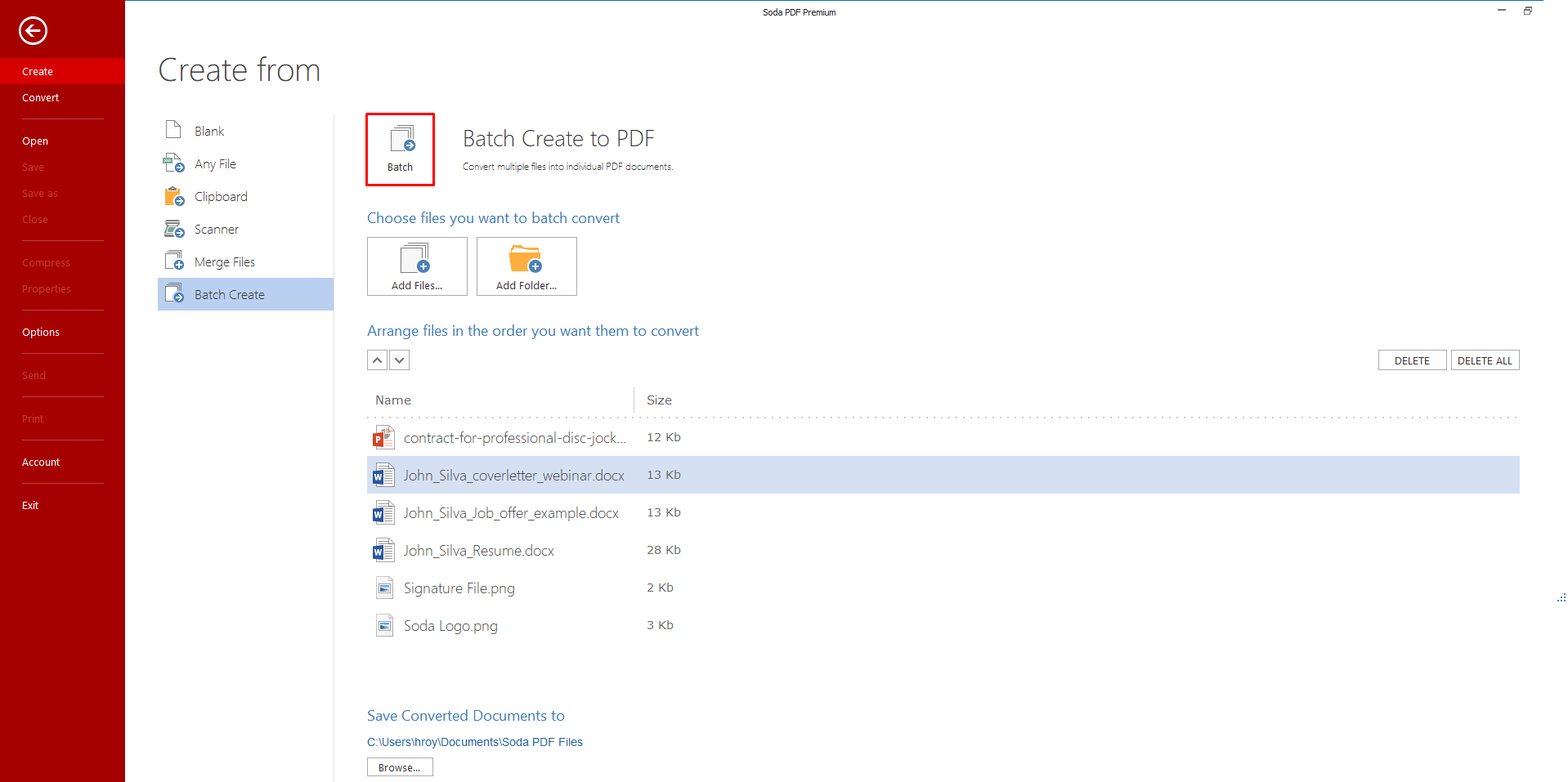 how to batch create pdf files