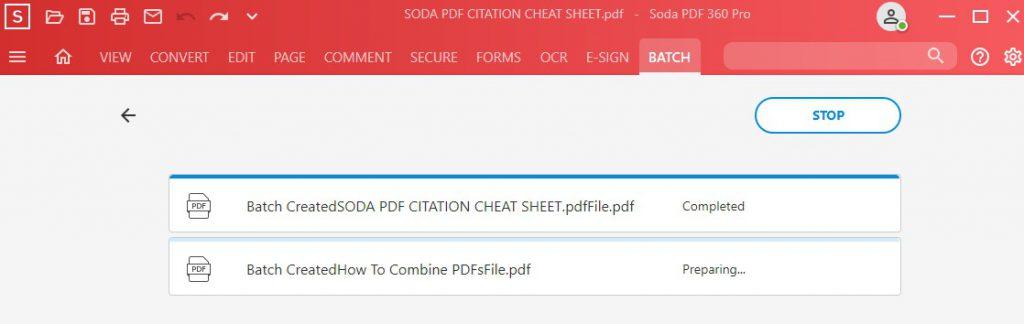 Batch Create to PDF - Batch In Progress - Soda PDF 12