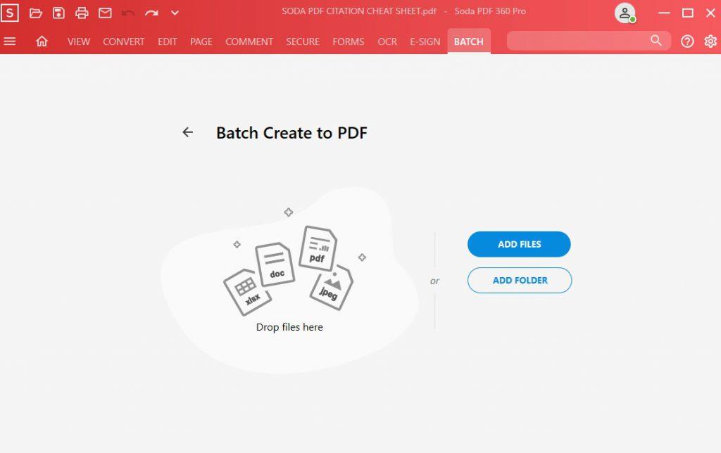 Batch Create to PDF - Drop files here or open file or folder - Soda PDF 12