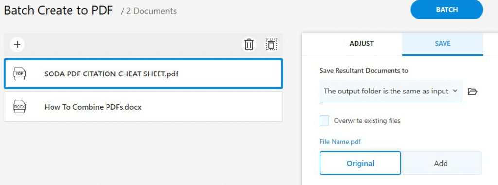 Batch Create to PDF - Save - Select Folder - Soda PDF 12