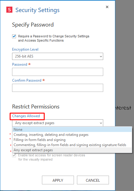 pdf features security permissions changes allowed