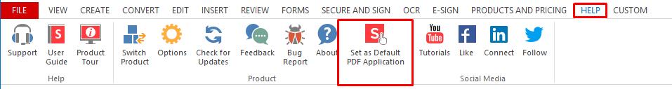 pdf features set default