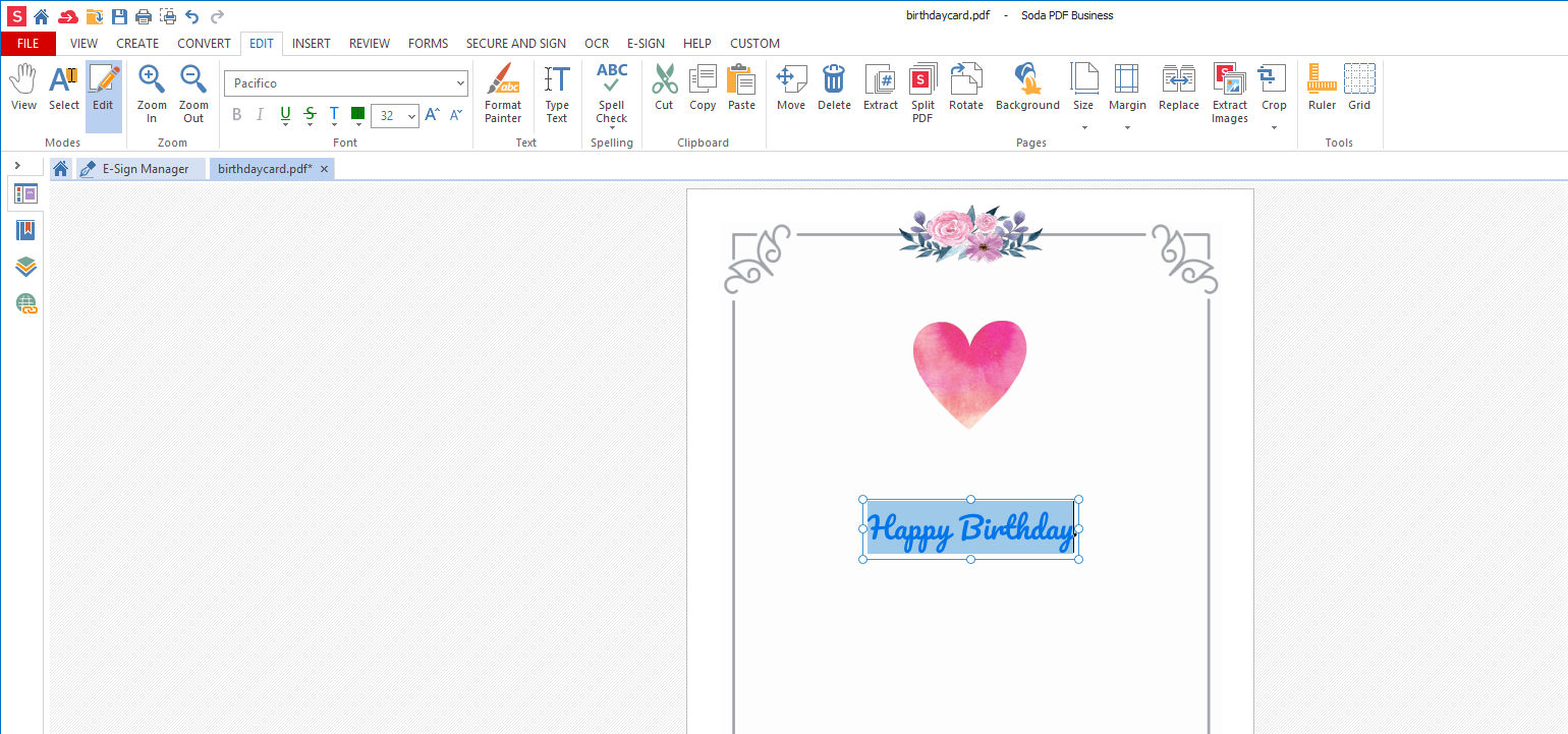 2 create front page Create a birthday card template