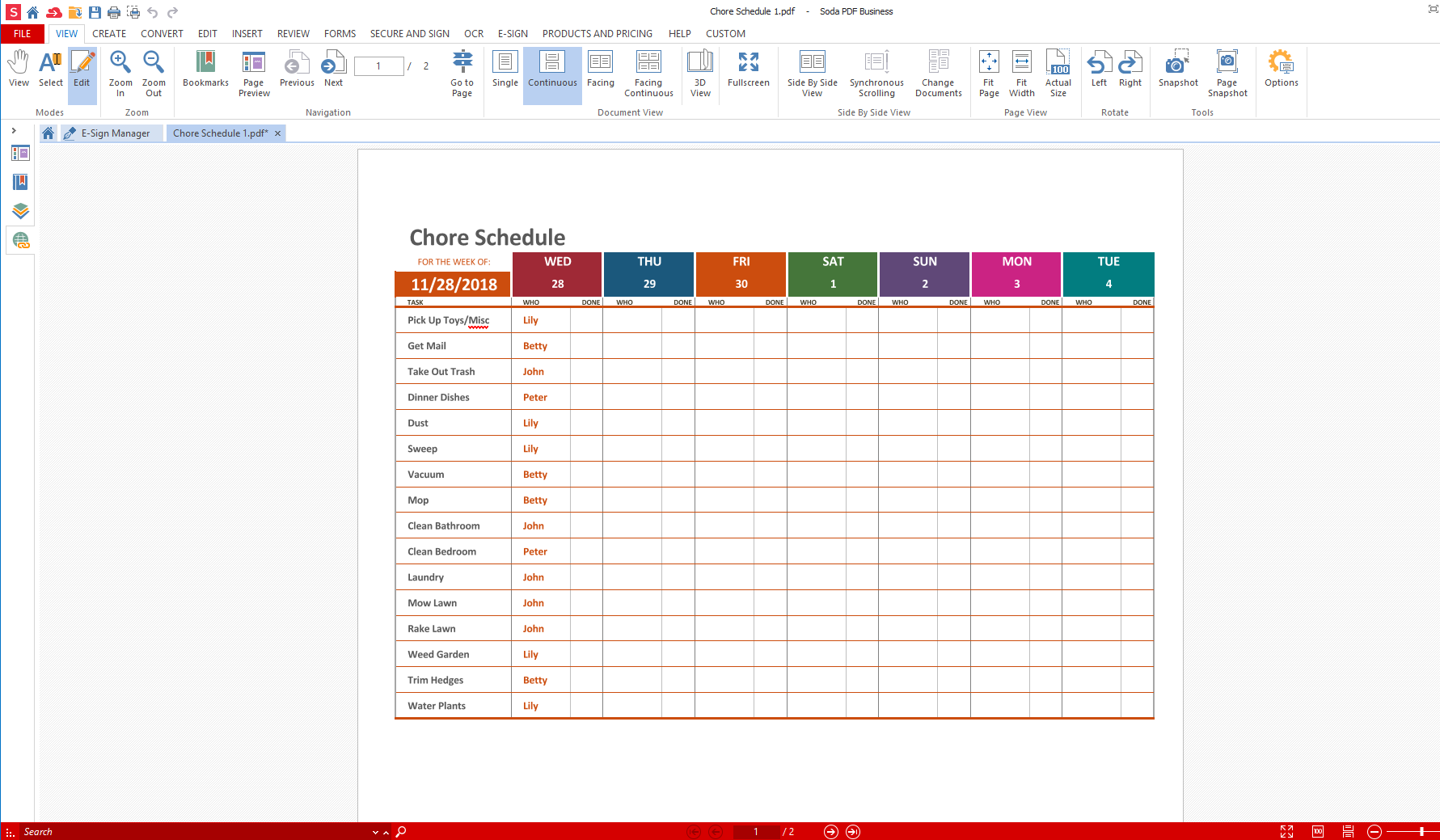Convert Excel to PDF - Weekly Chore Planner PDF