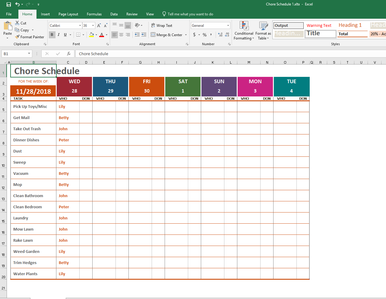 Convert Excel to PDF - Weekly Chore Planner