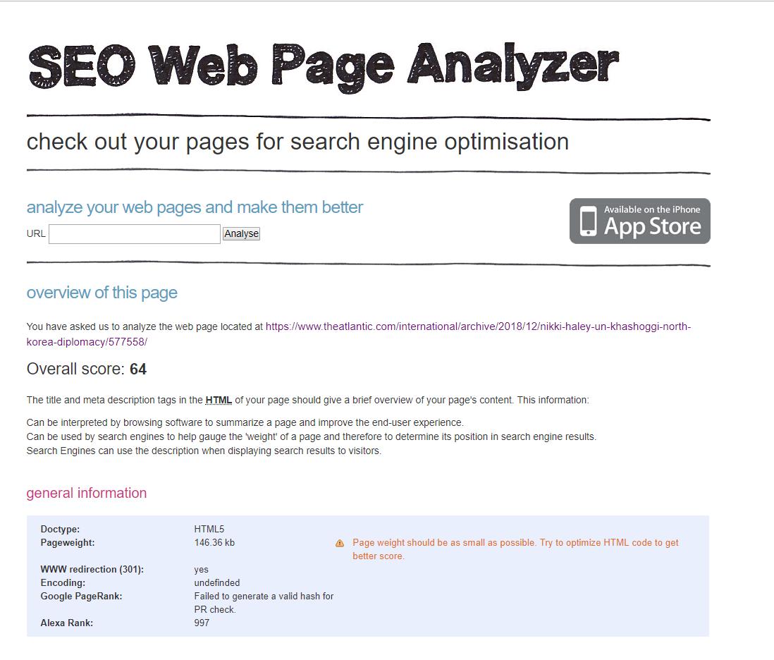 Free SEO Tools SEO Web Page Analyzer