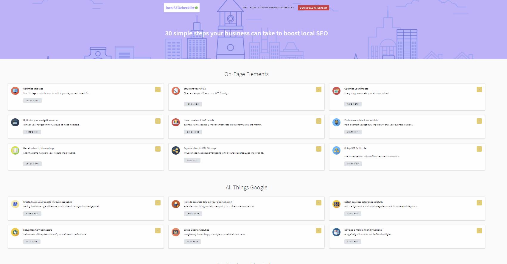 Free SEO Tools local seo checklist