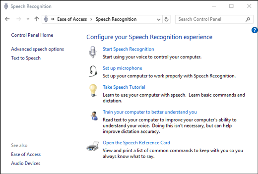 Voice Recognition - Windows 10