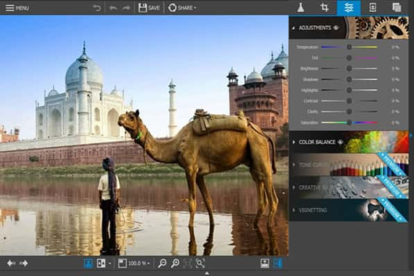 INPIXIO interface free photo editor