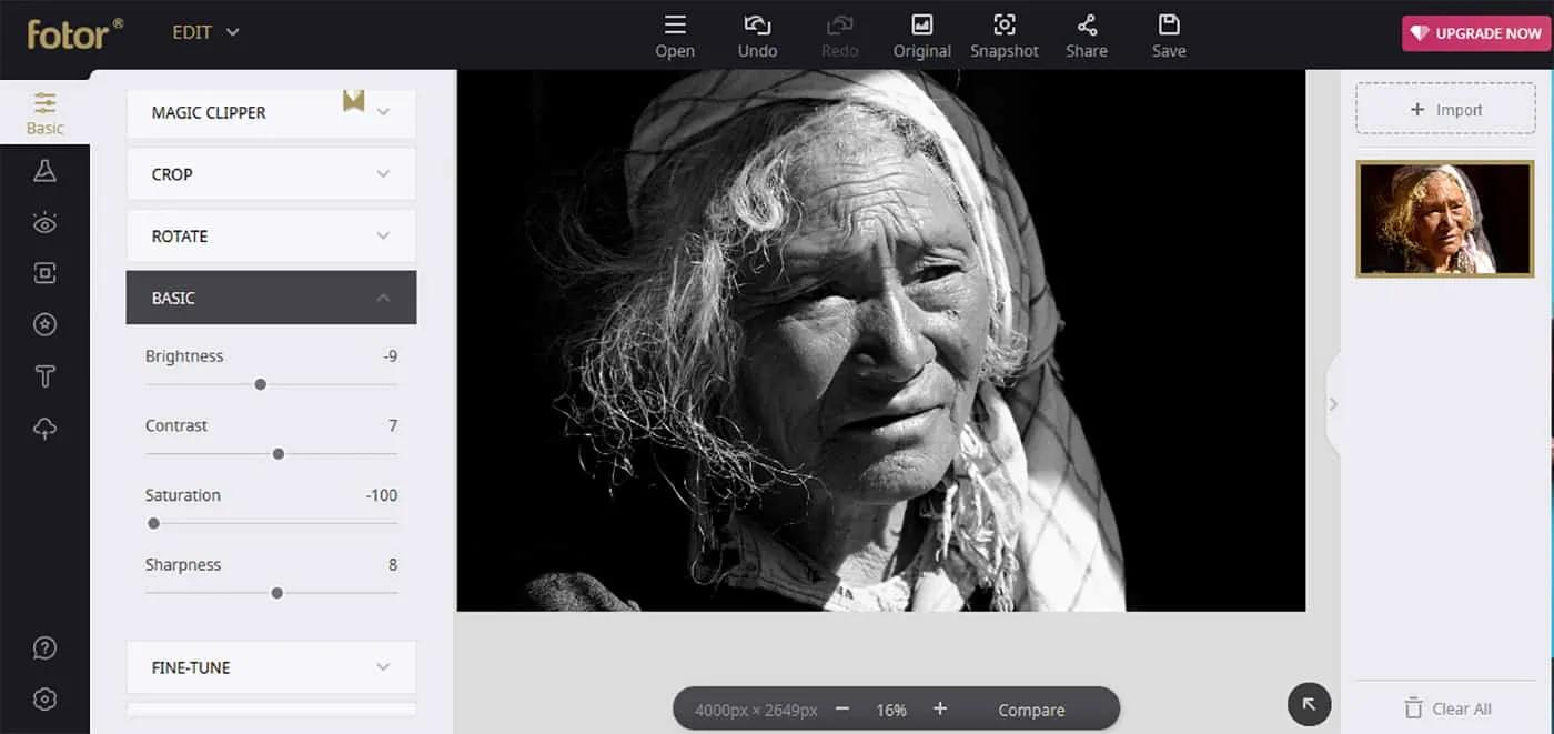Fotor interface best free photo editors