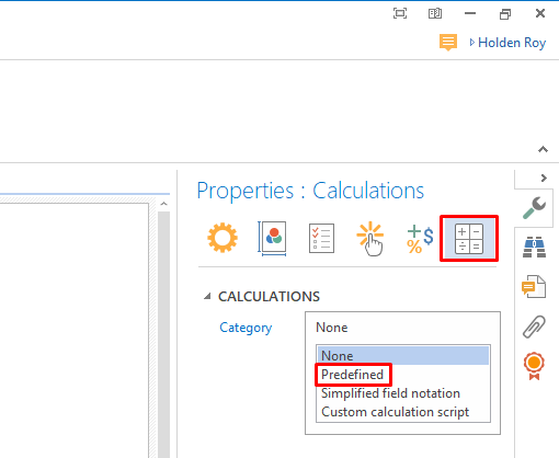set predefined how to create form field calculations