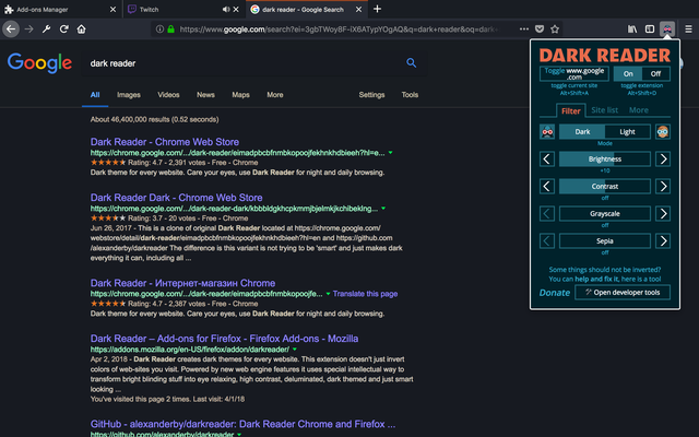Darkreader best mozilla firefox plugins