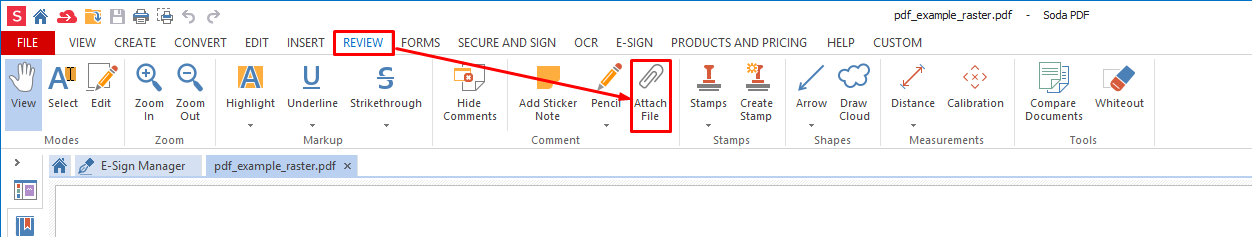review tab attach file to pdf