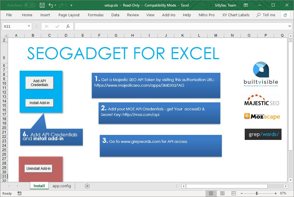 SEOgadget 7 useful excel add-ins