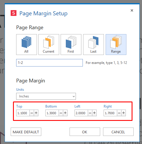 Set measurement custom margins for PDF Pages