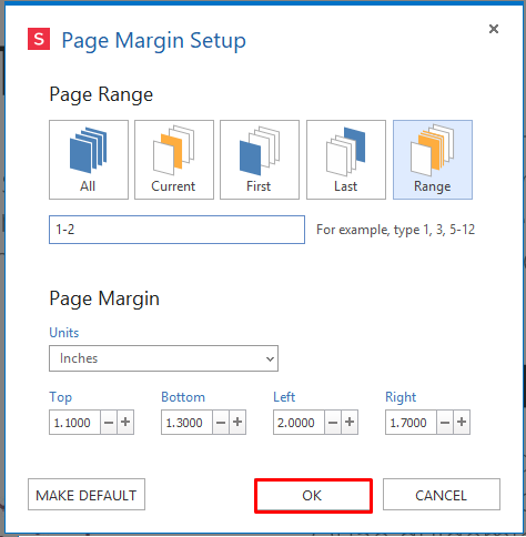 confirm choice set custom margins for pDF pages