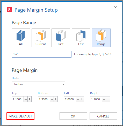 make default set custom margins for pDF pages