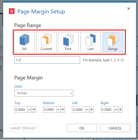 range set custom margins for DPF Pages