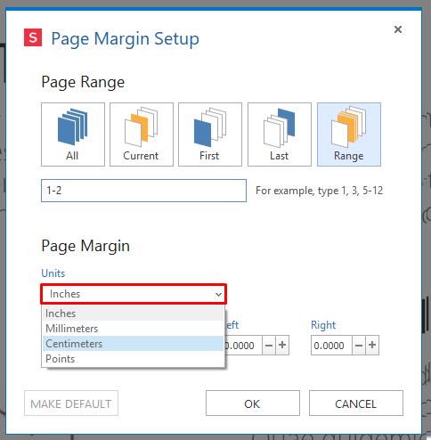unit of measurement custom margins for DPF Pages
