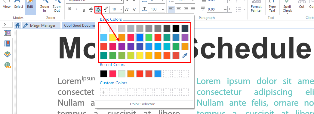 choose color format text pdf