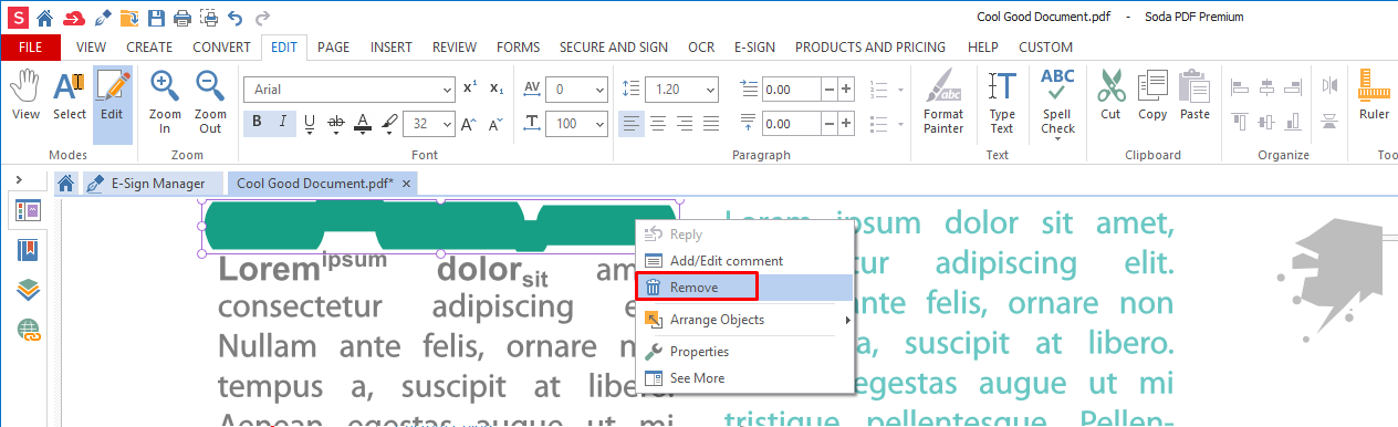 remove annotation format text pdf