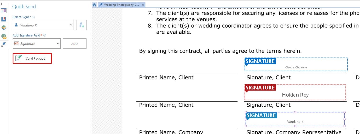 send package dynamic pdf contract template