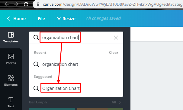 choose org chart template Canva