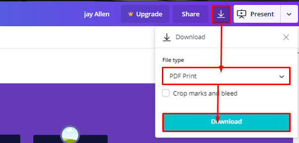 export pdf from canva