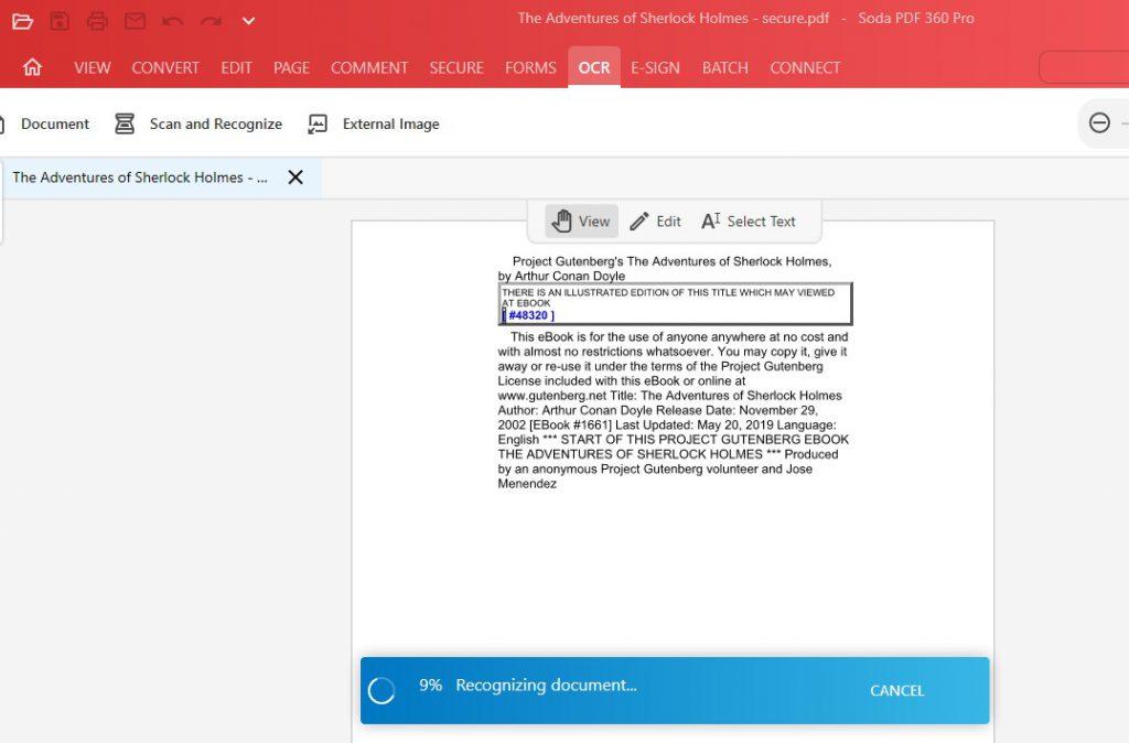 OCR Feature - Recognizing document - Soda PDF 12