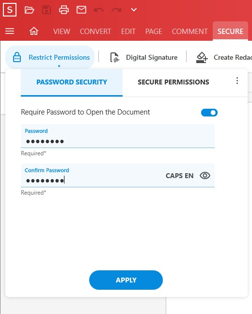 Secure Feature - Restrict Permissions tool - Add Password Security - Apply Password - Soda PDF 12