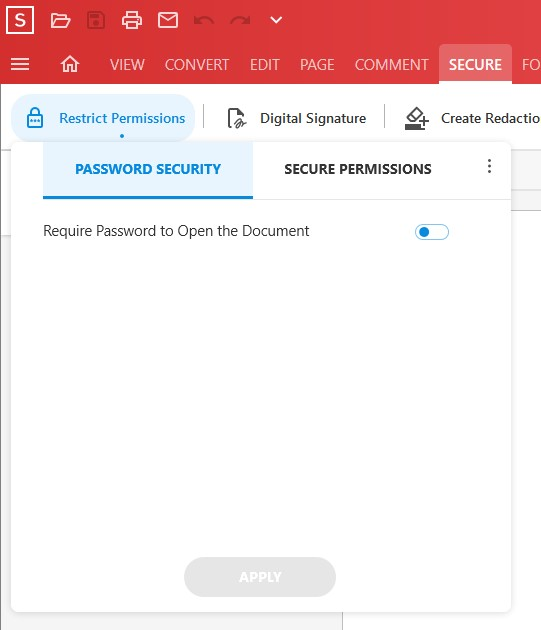 Secure Feature - Restrict Permissions tool - Add Password Security - Soda PDF 12