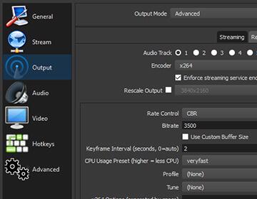 Open Broadcast System Studio: Settings Panel