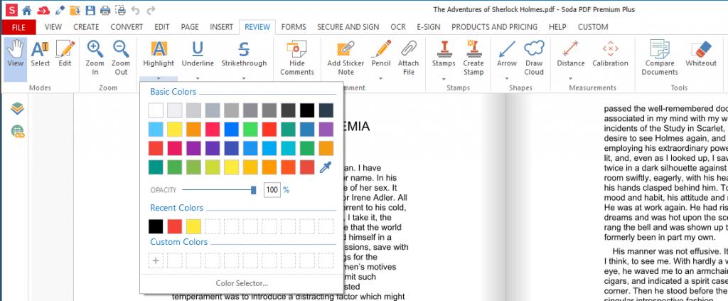 Soda PDF - Highlight tool
