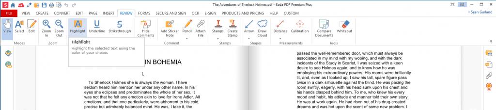 Soda PDF - Review Tab