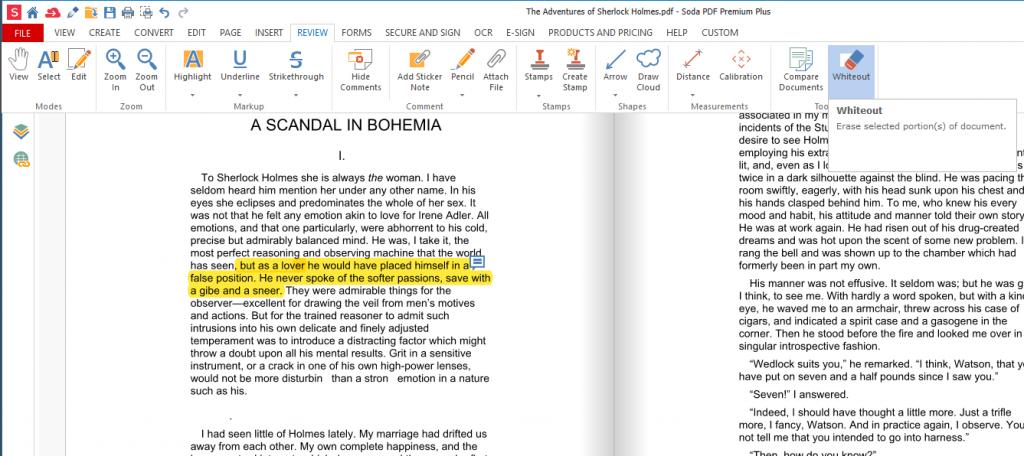 Soda PDF - Whiteout tool example