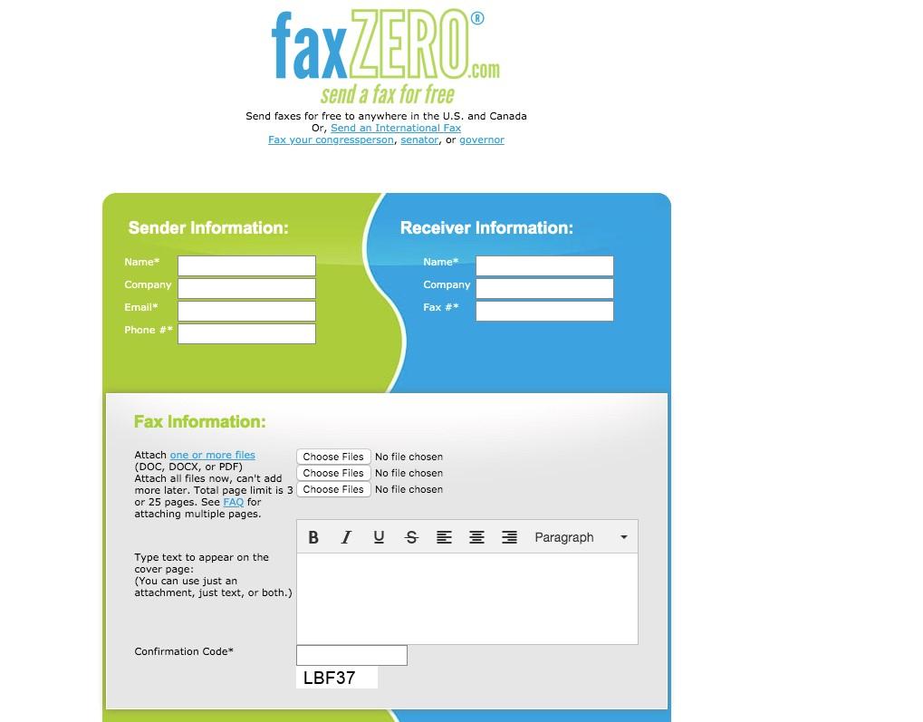 FaxZero - Fax Information
