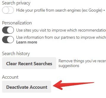 Deactivate Account - Pinterest