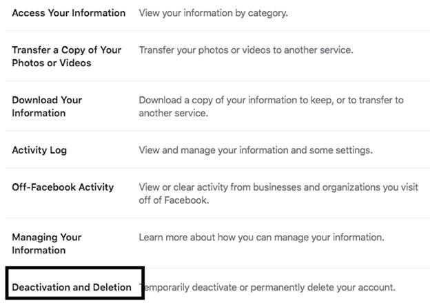 Deactivation and Deletion - Facebook