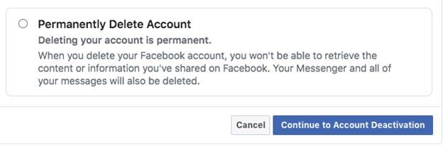 Permanently Delete Account - Facebook