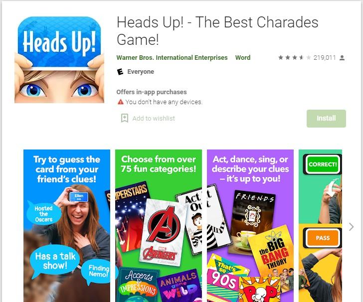 Heads Up Virtual Charades