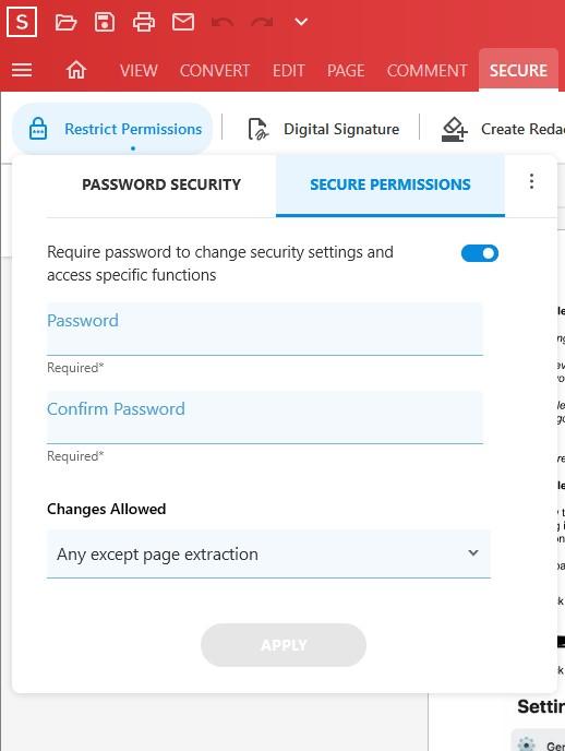 Secure Permissions - Soda PDF 12