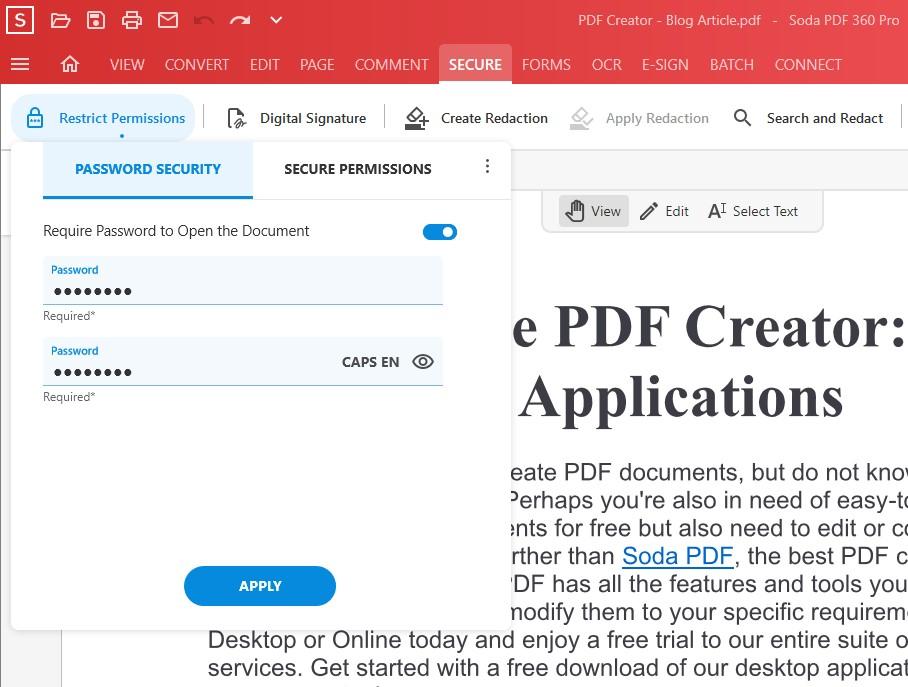 Password Security - Add Password to PDF Tool - Soda PDF 12