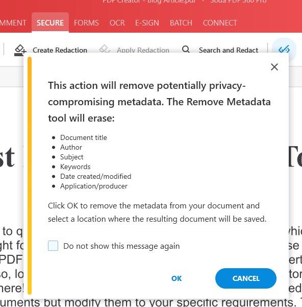 Remove Metadata - Secure Feature - Soda PDF 12