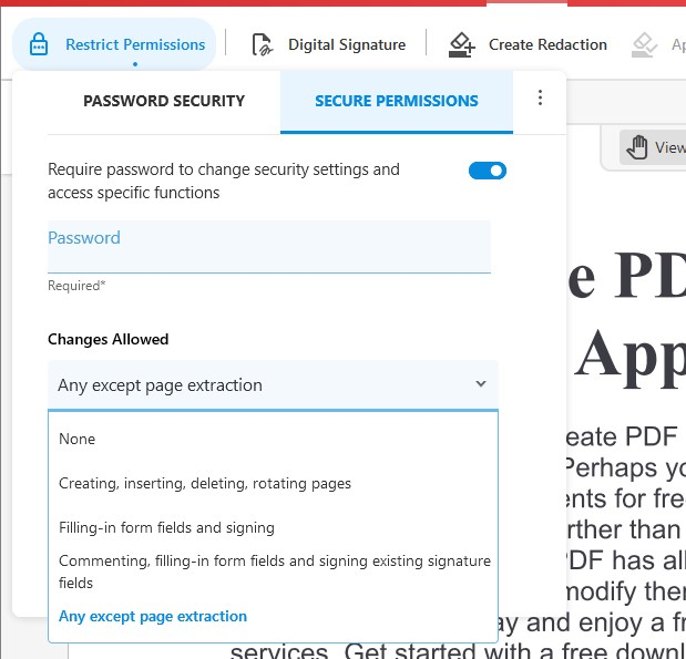Secure Permissions - Changes Allowed Settings - Secure Feature - Soda PDF 12