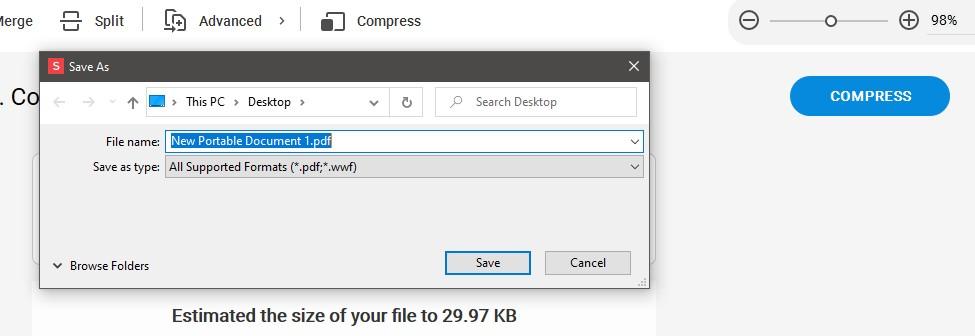Click Compress - Select New File Name - Soda PDF Desktop - Compress Tool