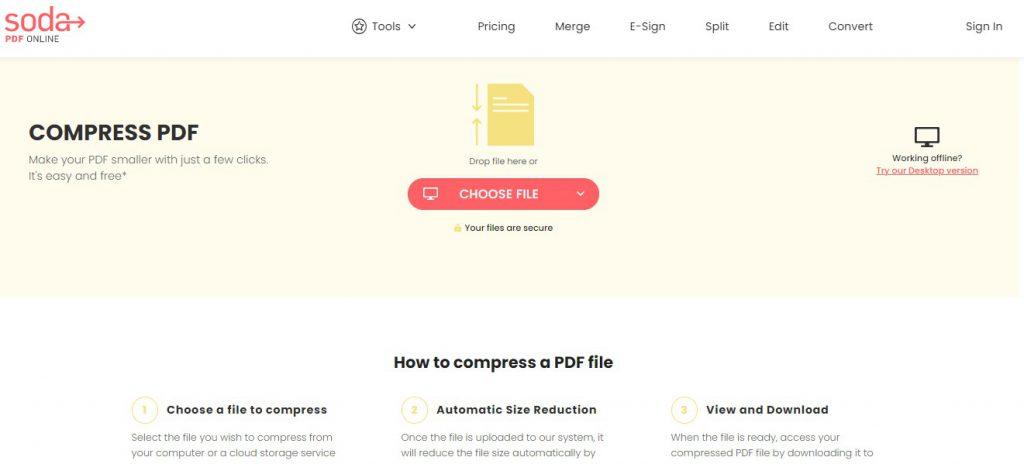 Compress PDF - Online Tool - Soda PDF Online